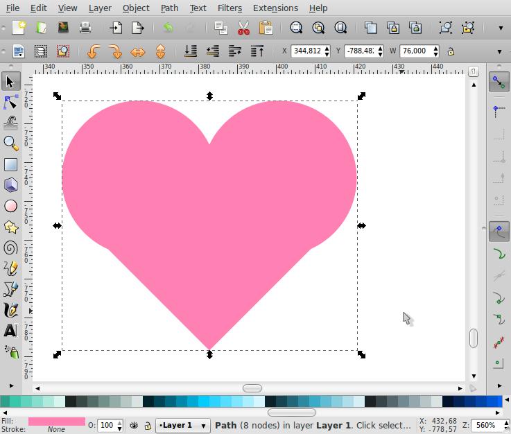 Membuat Bentuk Love – Inkscape - 5