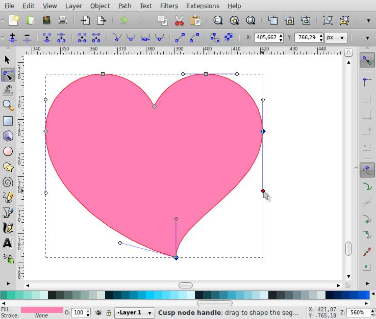 Membuat Bentuk Love – Inkscape - 7