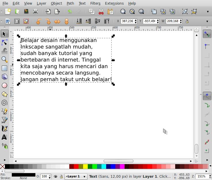 Penempatan Teks Sesuai Bentuk Objek – Inkscape - 1