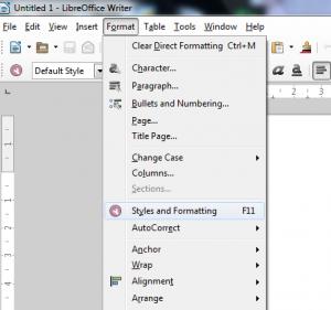 Gambar 1, Tampilan Menu Format Styles and Formatting
