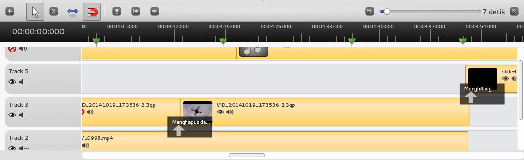 contoh Alur video, gambar dan suara yang akan diedit di OpenShot