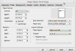 low Page Style: First Page