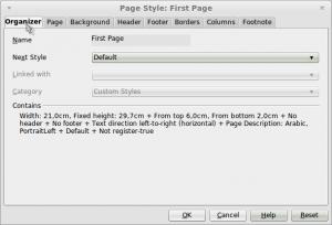 organizer Page Style